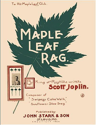 "Front cover of the third edition of the ""Maple Leaf Rag"" sheet music with Joplin portrait"