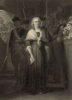 Marie Antoinette au Tribunal révolutionnaire (engraving by Alphonse François, from a painting by Paul Delaroche, (1857)