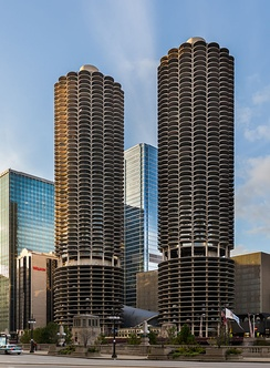 The Marina Towers in Chicago, IL are depicted on the cover of Yankee Hotel Foxtrot.