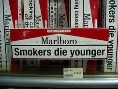 «Курильщики умирают раньше» (предупреждение в рекламе сигарет «Marlboro» и в то же время аллюзия на современную песню, превозносящую достоинства смерти в молодости