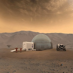 An artist's conception of a Mars habitat, with a 3D printed dome made of water ice, air-lock, and pressurized rover designs on Mars[1]