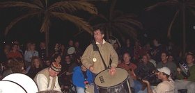 Mickey Hart leading a drum circle in February 2005