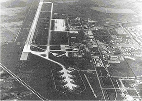"Approaching runway 29 at Minot AFB in 1973, alert ramp ""Christmas Tree"" at bottom center"