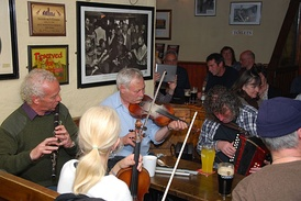Traditional music sessions are commonplace in public houses throughout Ireland