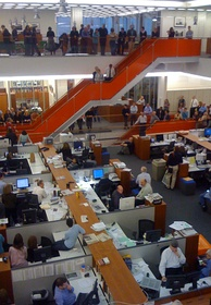 A speech in the newsroom after announcement of Pulitzer Prize winners, 2009
