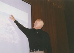 Foster lecturing in 2001