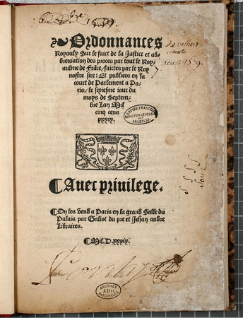 Title page of the printed version of the Ordinance of Villers-Cotterêts, August 1539