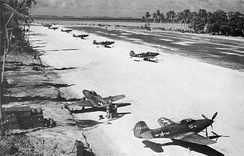 P-39Qs of the 46th Fighter Sq at Makin Island in December 1943.