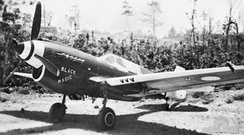 "P-40N-15 ""Black Magic"", No. 78 Squadron RAAF F/L Denis Baker scored the RAAF's last aerial victory over New Guinea in this fighter on 10 June 1944. It was later flown by W/O Len Waters. Note the dark blue tip on the tailfin used to identify 78 Squadron."