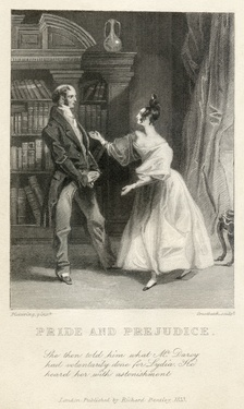 Elizabeth tells her father that Darcy was responsible for uniting Lydia and Wickham, one of the two earliest illustrations of Pride and Prejudice.[6] The clothing styles reflect the time the illustration was engraved (the 1830s), not the time in which the novel was written or set.