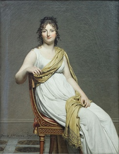 "Madame Raymond de Verninac by Jacques-Louis David, with clothes and chair in Directoire style. ""Year 7"", that is 1798–99."