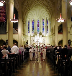 Interior of St. Mary's Episcopal Cathedral, Memphis, Tennessee with a procession.