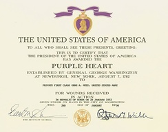 U.S. Army Purple Heart Certificate for a soldier wounded during the Korean War