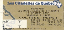 Quebec Citadelles French language ticket for a game against the St. John's Maple Leafs in 2002