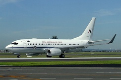 A Royal Australian Air Force 737BBJ taxies at Sydney Airport