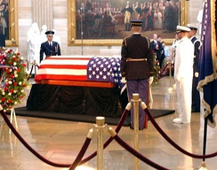 Reagan lying in state in the Capitol rotunda