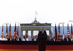 "U.S. President Ronald Reagan at his ""Tear down this wall!"" speech in Berlin, Germany on June 12, 1987. The Iron Curtain of Europe manifested the division of the world's superpowers during the Cold War."