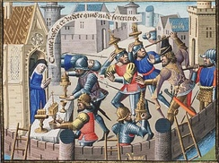 15th-century illustration depicting the Sack of Rome (410) by the Visigothic king Alaric I