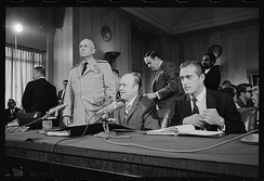 Secretary Laird (center) before the Senate Foreign Relations Committee in 1970