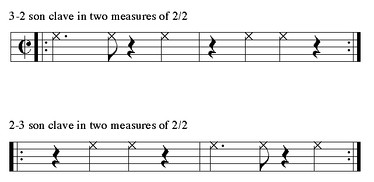 3–2 clave and 2–3 clave written in cut-time.