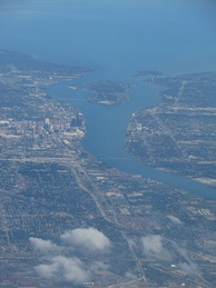 The Detroit River between Detroit, Michigan and Windsor, Ontario. Windsor is on the opposite side of the River