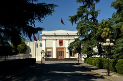 The façade of the Parliament of Albania in Tirana