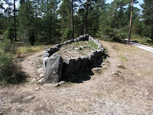 Stone ship monuments. Gotland in Sweden.