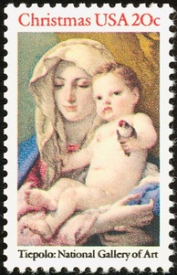 Christmas stamp released in the United States in 1982, featuring a painting by Giovanni Battista Tiepolo