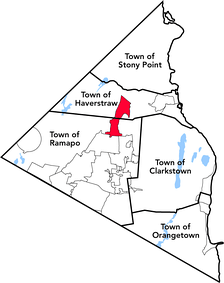 The village of Pomona (red) in Rockland County is partly within two different towns.