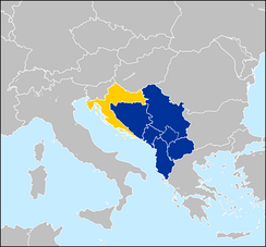 Western Balkan countries – Albania, Bosnia and Herzegovina, Croatia, Montenegro, North Macedonia and Serbia. The partially recognized Kosovo is also demarcated. Croatia (yellow) joined the EU in 2013.