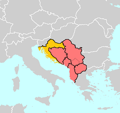 Western Balkan countries – Albania, Bosnia and Herzegovina, Croatia, Macedonia, Montenegro, and Serbia. The partially recognized Kosovo is also demarcated. Croatia joined the EU in 2013.