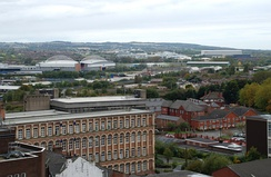 Aerial view of Wigan town centre