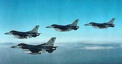 Group of four 10th TFS F-16s in flight over Southwest Asia, 1991