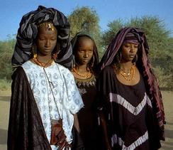 Fulani women with traditional facial tattoos.