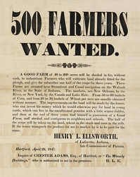 Broadside advertising sale of 200-acre farms, Lafayette, Indiana, 1847