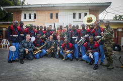 Cameroonian and American military band members in Douala, March 2015