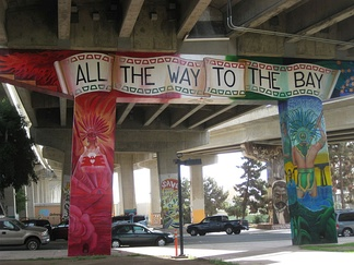 "Mural in Chicano Park, San Diego stating ""All the way to the Bay"""