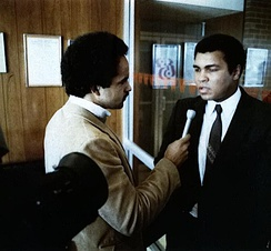 Ali being interviewed by WBAL-TV's Curt Anderson, 1978, Baltimore, Maryland