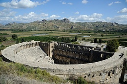 Designed by Greek architect Zeno, a native of the city, the Aspendos amphitheatre was built during the Roman period in 161–169 CE.[62]