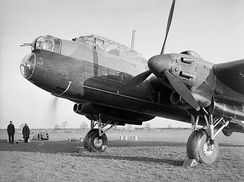 The forward section of a Manchester Mark I at Waddington, Lincolnshire, showing the nose with the bomb-aimer's window, the forward gun-turret and the cockpit, September 1941