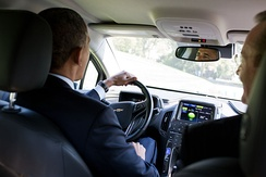 President Obama driving a Volt at the White House.