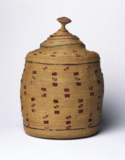 Unknown Aleut artist, sea-lyme grass basket and lid embellished with wool embroidery, early 20th century, Brooklyn Museum