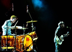 The Black Keys performing in February 2010, three months before the release of their breakthrough album Brothers