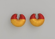 Pair of Earrings; 1981; 3.2 x 3.2 x 1.9 cm (1​1⁄4 x 1​1⁄4 x ​3⁄4 in.); Brooklyn Museum (New York City)