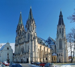 Catholicism is the major religion at 10% of the population; Saint Wenceslas Cathedral in Olomouc pictured.
