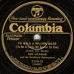 The label of an electrically recorded Columbia disc by Art Gillham from the mid-twenties