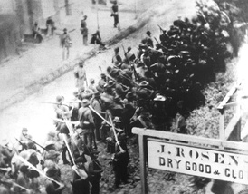 Confederate troops marching south on N Market Street, Frederick, Maryland, during the Civil War.