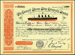 Share of the Cunard Steam-Ship Company, issued 1909