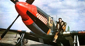 Dominic Salvatore Don Gentile on the wing of his P-51B, 'Shangri-La'