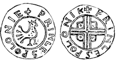 A coin depicting a crowned bird on the one side, and a cross on the other side